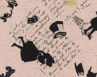 HALF YARD Lecien - Girls Story Summer 2017 - Invitation to Alice's Tea Party 40834-20 Pink w/ Gold Metallic - Cotton/Linen Blend