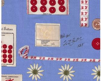 HALF YARD Yuwa - Sewing Notions on Blue - Suzuko Koseki 829609-C - Hook, Needle, Antique Buttons, Handicraft Supplies - Japan Import