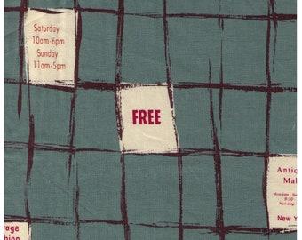Half Yard  Yuwa - Grid Print with Advertisement Blocks on Dusty Teal 826057-E - Suzuko Koseki Japanese - Paris Bonjour France