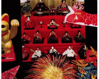 HALF YARD - Japanese Matsuri Celebration - Photo realistic Black and Red - Festival Fireworks Laterns Games Lucky Cat Koi -Japan