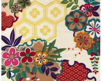 HALF YARD - Cherry Blossoms and Hexies on Ivory - 1900-3A - Traditional Japanese - Flowers, Fan, Yukata Kimono, Hexagon, asanoha, kanoko