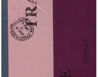 HALF YARD Yuwa - Flag Stripe Purple, Teal, and Beige - Suzuko Koseki 826314-D - Japanese - Merci, Bonjour, Cafe, Europe, Postage Stamp