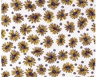 HALF YARD Yuwa - Yellow Daisies and Dots on White  - Suzuko Koseki 816899 - Japanese Import Fabric - Aqua and black