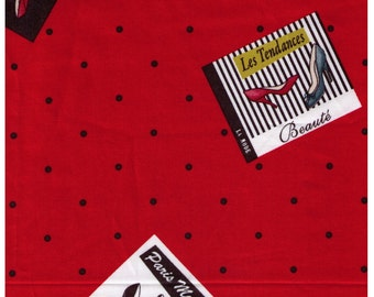 HALF YARD Yuwa - Paris Shoes and Black Polka Dots on Red - Suzuko Koseki 824046-C - Japanese Import - Bonjour France Merci Modes