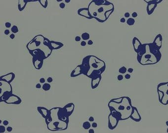 HALF YARD Lecien - French Bulldog and Paw Prints on PUTTY Stone background - Nylon Taffeta - Flowers - Japanese Import