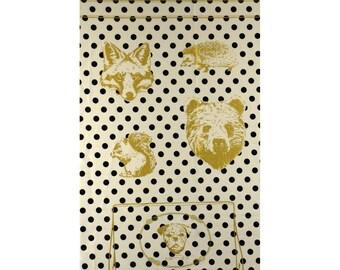 ONE PANEL Trefle Kokka - Gold Metallic Animal Faces on Natural - 1 Dog Bag Design per Panel - Black Polka Dots - Squirrel Hedgehog Fox Bear