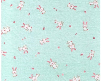 """HALF YARD  - Bunny and Musical Notes on Aqua Green - 75cm / 30"""" Wide - Cotton Knit - Japanese Import"""