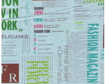 HALF YARD Yuwa - SMALL Print Size - 816972-C Fashion Magazine Newspaper Blue Print  Brown Pink Green - Suzuko Koseki - Japanese Reduced