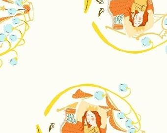 HALF YARD - Sleeping Beauty in White - 51198-3  Far Far Away 2 by Heather Ross - Windham Fabrics - Far Far Away II