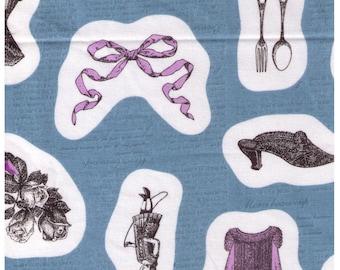 HALF YARD Kokka - Ornaments on Blue - Cat, Antique, Shoe, Bow, Dress, Corset, Roses, Silverware - Japanese Import