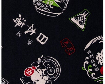 HALF YARD Cosmo Textile - Sake Labels on NAVY 5409-1D - Cotton Canvas - Japanese Import
