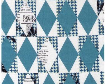 HALF YARD Yuwa - TEAL Diamond and Houndstooth Cheater - Suzuko Koseki 82678-D- Harlequin, Geometric, Graphic - Japanese Import Fabric