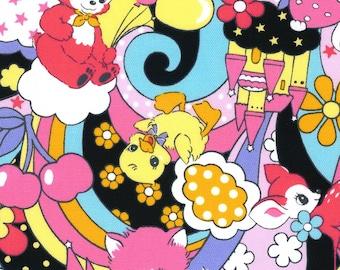 HALF YARD Kokka Pastel Pop - Psychedelic Animals BLACK Colorway 76020-2D - Panda Deer Bunny Kitty Cherries Rainbow Heart - Japanese Import