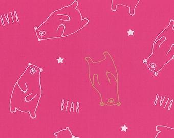 HALF YARD Lecien - Bears and Stars on PINK w/ Metallic Accents  40747-20 - Koko Seki- Cyururu Choc. Col. - Nylon Taffeta - Japanese Import