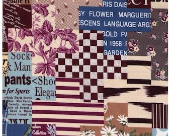 HALF YARD Yuwa - Cheater Plus Print in Burgundy Brown - Suzuko Koseki 829607-B - Japanese Import- Paris Bonjour France Pattern Daisy