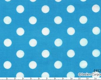 "End Bolt 36"" - Lecien - Color Basic - 4524-LL  White Large Polka Dots on Aqua Blue - Japanese Import Fabric"