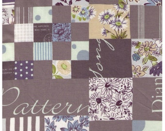 HALF YARD Yuwa - GREY Mixed Cheater Print with Text  - Suzuko Koseki 826150-D - Japanese Import- Paris Bonjour France Merci Pattern Daisy