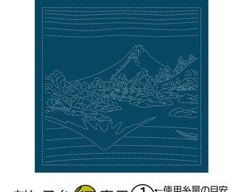 Olympus Sampler -Koshu Misaka water surface  on Navy H2097 - Sashiko Flower Fukin-Katsushika Hokusai Thirty-six Views of Tomitake