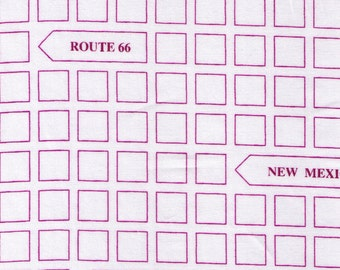 HALF YARD - Purple City Road Signs Arrows on White - Geometric - Lecien First of Infinity Route 66 Collection - Japanese Import