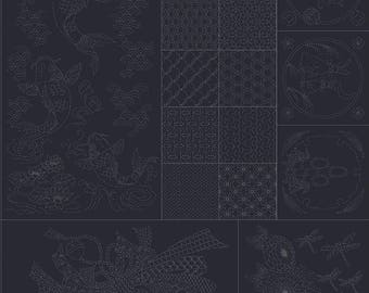 "QH Textiles - SASHIKO Joyful Family Carp Sampler on BLACK - Approx Panel 38"" x 44"" - 100% Cotton Dobby - Hand Stitching Japan"
