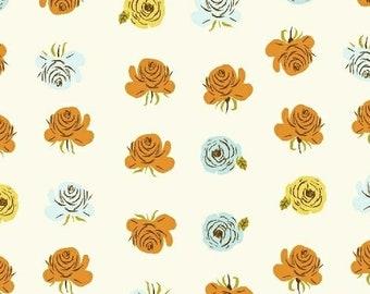 HALF YARD - Aqua Blue Roses in White - 51203-2  Far Far Away 2 by Heather Ross - Windham Fabrics - Far Far Away II