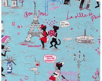 HALF YARD Parisian Cats on BLUE - Miyako Kawaguchi 024C - Paris Cafe, France, Eiffel Tower, Arc de Triomphe, Bonjour, Merci, Flowers - Yuwa