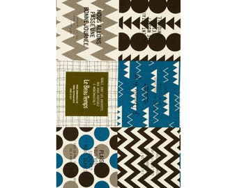 PANEL Lecien - Cotton Style 2017 - French Travel Large Square Cheater Olive/Blue/Brown - 40873-80 - Canvas Japanese Import