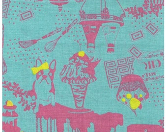 HALF YARD - Kayo Horaguchi - Terriers Dog and Bunnies in the Kitchen on Blue Cotton/Linen Blend - HKF-38 - Kiyohara Imported Japanese