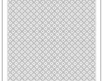 "OLYMPUS Sashiko sampler Traditional Design Juji-hana-zashi WHITE SC-1016 - 12"" Pillow or Dish towel - Hand Quilting and Stitching- Japanese"