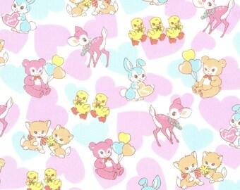 HALF YARD Kokka - Pastel Pop Animals and Hearts Pink.Cream Colorway 76020-1A - Panda Deer Bunny Kitty Cherries Rainbow - Japan