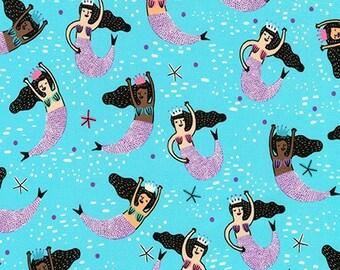 HALF YARD Hello Lucky - Mermaids on Blue - By Hello!Lucky for Robert Kaufman - Eunice Moyle and Sabrina Moyle