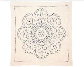 "TULIP - Sashiko World Kit - HUNGARY Rose Medallion #012 - 12"" Pillow Dish towel - Hand Quilting & Stitching- Japanese"