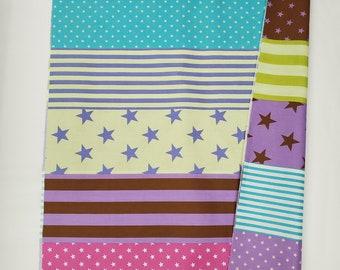 HALF YARD Kokka Trefle - Brights Stripes and Stars Cheater Print - 28000-801D - Purple, Dark Pink, Lime Green, Teal, Brown - Quilting Cotton