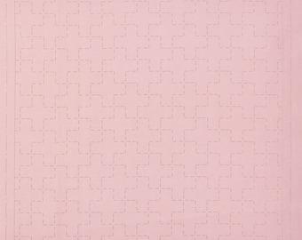 Cosmo Hidamari Sashiko Sampler - Juji-tsunagi on Dusty Rose Coral #98907-20 - Hand Quilting Stitching - Lecien Japanese Traditional Design