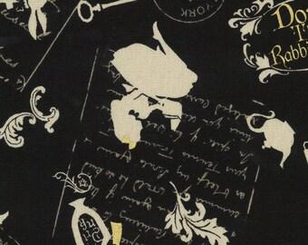 HALF YARD Lecien - Girls Story Summer 2017 - Invitation to Alice's Tea Party 40834-100 Black w/ Gold Metallic - Cotton/Linen Blend -Japanese