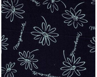 """End of Bolt 30"""" Cut - Yuwa - Sketched Daisies on NAVY - Suzuko Koseki SZ826435 F- Flower, Floral, Daisy  - Japanese Import Fabric"""