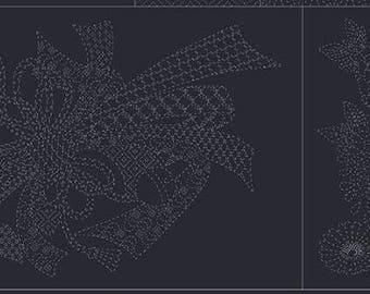 "QH Textiles - SASHIKO Chrysanthemum with dragonflies and Bow on BLACK - Panel 13.5"" x 37.5"" - 100% Cotton Dobby - Hand Stitching Japan"
