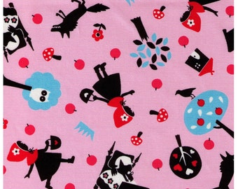 HALF YARD Lecien - Girl's Story Little Red Riding Hood on Pink -  Grandmothers House, Wolf, Forest, Fairytale, Woods, Toadstool