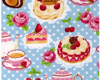 HALF YARD - Vinyl Coated Japanese Fabric - Blue Colorway - Strawberries, Cakes, Desserts, Polka Dots, Strawberries