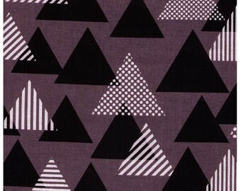 HALF YARD Lecien Geometric Collection - Triangles in BLACK - 41107-90 - Cotton Linen Blend Canvas - Japanese