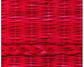 HALF YARD - MI39403-3 Photo Realistic Dark Pink Basket Weave with Braid, Oxford Cotton - Cosmo Textiles, Japanese Import