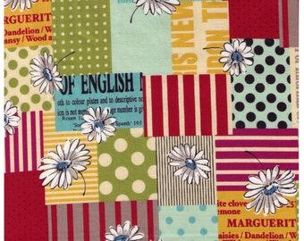 HALF YARD Yuwa - Mixed Cheater Daisy Print with Text 826436-D - Suzuko Koseki - Japanese Import- Aqua, Mustard, Plum, Green, Red, Yellow