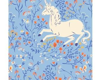 HALF YARD - 20th Anniversary Collection by Heather Ross - Blue Unicorn 39657A-4 Far Far Away - Windham Fabrics