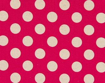 Half Yard - Cosmo Textile Large Natural Polka Dots on Pink - Cotton Linen Canvas - Japanese Import Fabric