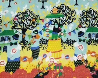 HALF YARD Kiyohara - Kayo Horaguchi - Candy Dreams on Teal and Blue - Bear, Candy Jars, Swans, Gumball Machine - Double Gauze - Japanese