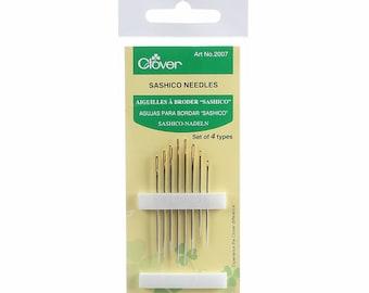 CLOVER Sashiko Sashiko Needles 8 piecee - 4 sizes - Long and Short Pack- Hand Quilting and Stitching- Japanese Imported