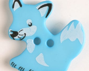 FOX Button - Light Blue Colorway 25 mm - Made in Germany - Washable and Dry Cleanable 330872