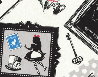 HALF YARD Lecien - Girl's Story 40687-10 - Alice in Wonderland - 80/20 Cotton Linen Blend - White Rabbit, Queen of Hearts Bows
