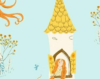 HALF YARD - Rapunzel in Aqua  - 51197-2  Far Far Away 2 by Heather Ross - Windham Fabrics - Far Far Away II