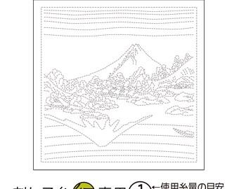 Olympus Sampler -Koshu Misaka water surface on WHITE H1097 - Sashiko Flower Fukin-Katsushika Hokusai Thirty-six Views of Tomitake